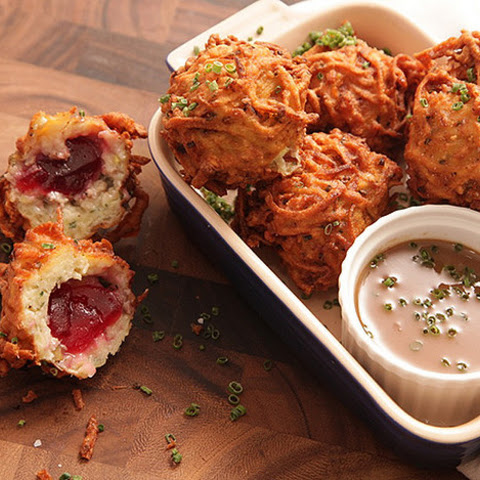 Latke-Crusted Turkey Stuffing Fritters With Liquid Cranberry Core and Schmaltz Gravy