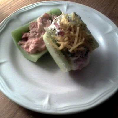 Stuffed Cucumber Boats - Salmon & Crab Meat Filling