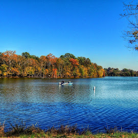 Bledsoe Creek by Penny McWhirt - Landscapes Waterscapes ( tn, bledsoe creek, fall, fishing, boat )