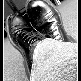 Casual Dreamer by Ernie Kasper - Instagram & Mobile Android ( shoes, laces, floor, chairs, black and white, casual, socks, jeans, dress shoes, black )