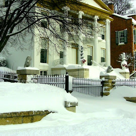 Deep Snow in Galena Neighborhood by Kathy Rose Willis - Buildings & Architecture Homes ( galena, winter, illinois, deep snow, snow, white, storm )