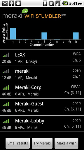 Meraki WiFi Stumbler