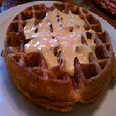 Cornmeal Bacon Waffles with Cheese Sauce