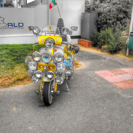 Christmas Moped  by Nachau Kirwan - Transportation Motorcycles ( lights, bike, wheel, motorbike, seaside )