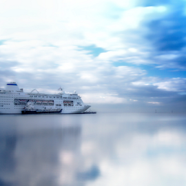 Dream Cruising by Bevlea Ross - Transportation Boats ( clouds, water, ships & boats, princes pier )