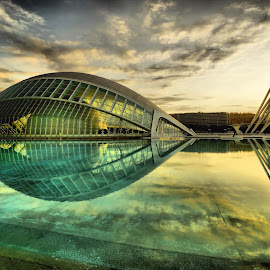 Hemisfèric & Museo De Las Ciencias at Dawn by Dark Reid - Buildings & Architecture Public & Historical ( museo de las ciencias, exterior, hemisferic, reflections, summer, trip, valencia, heritage, spain, culture, museo )