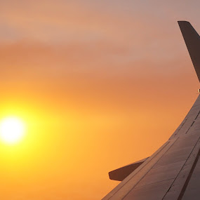 Sunrise at 35,000 Feet by VAM Photography - Transportation Airplanes ( airplane, nyc, places, sunrise, travel,  )