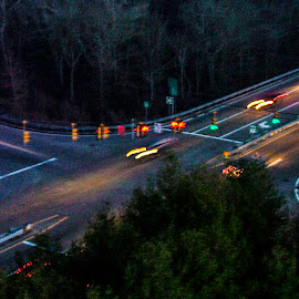 Night time intersection by Matt Weaver - Landscapes Travel ( westport, ma, rt, 88, up )