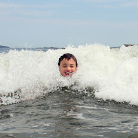 Face in the Wave by Blaine Linton - Babies & Children Children Candids ( water, child, wave, ocean, son, candid, beach, boy, portrait )