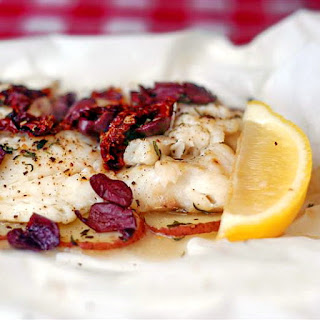 Newfoundland Cod with Olives and Sundried Tomatoes en Papillote