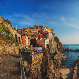 Manarola,Italy by Petros Sofikitis - Landscapes Travel ( cinque terre, sky, village, blue, colors, sea, rocks, italy )