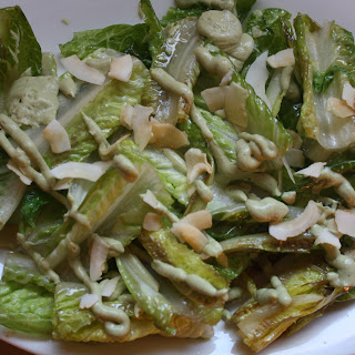 Wilted Romaine Salad with Avocado Dressing