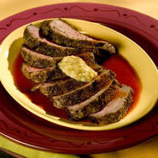 Bloody Mary Steaks with Green Olive Butter