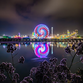 Opening Day by Evgeny Yorobe - City,  Street & Park  Amusement Parks ( del mar, san diego, reflections, fair, ferris wheel )