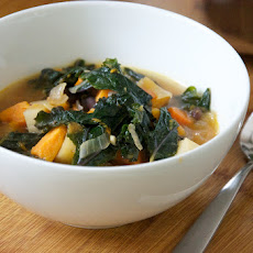 Vegan Kale and Roasted Vegetable Soup