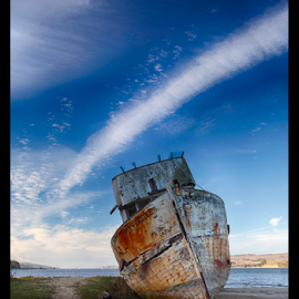 Forgotten Ship by Kevin Denton - Transportation Boats ( point reyes, northern california, california, ships, landscape,  )