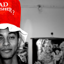 Red Cap by Kumud Lekhok - Novices Only Portraits & People ( b/w, red, drunk, selective monochrome, young, man )