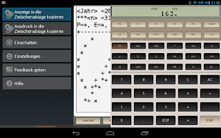 Screenshot of FX-602P scientific calculator