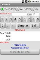 Screenshot of Calcula el IGV