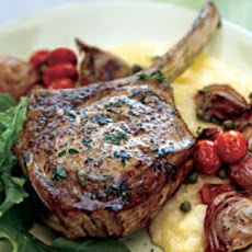 Roasted Veal Chops with Shallots, Tomatoes, and Olive Jus
