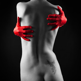 Body 2 by Kristina Oberling - Nudes & Boudoir Artistic Nude ( body, red, nude, black and white, naked, woman, art, phoenix, portrait, selective color, pwc )