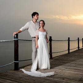 Jetty Sunset by Andrew Morgan - Wedding Bride & Groom ( love, zanzibar, beachlife, sunset, sea, island )