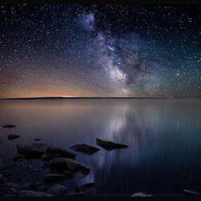 Lake Oahe by Aaron Groen - Landscapes Nightscapes ( reflection, pwcstars, bend recreation area, homegroen photography, bend, damn, aaron j. groen, central south dakota, pierre, lake, south dakota, milky way stars, milky way, pike haven, lake oahe, stars, resized with border to work on pixoto, missouri river, river )