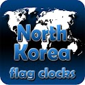 North Korea flag clocks icon