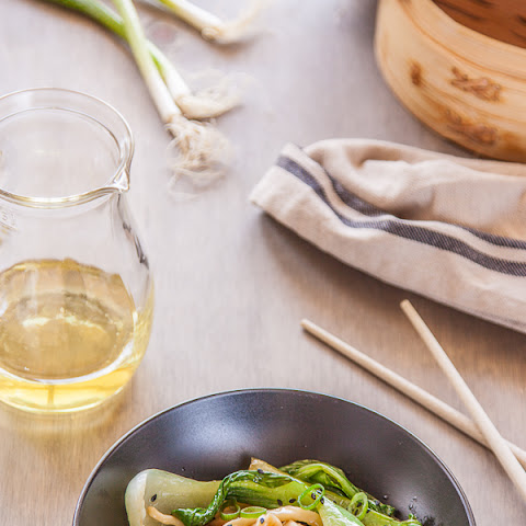 Bok Choy with Noodles, Black Sesame and Spring Onion Oil