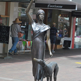 WOMAN & DOG by James Menteith - Buildings & Architecture Statues & Monuments ( monuments, statues, buildings, architecture, photography )