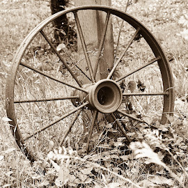 Times gone by by Angela Eggers-Tolleth - Artistic Objects Antiques ( hitching post, wagon wheel, rusty, historical, antique )