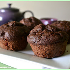 Vegan Chocolate Peanut Butter and Jelly Muffins