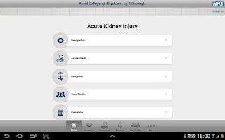 Screenshot of Acute Kidney Injury Tablet App