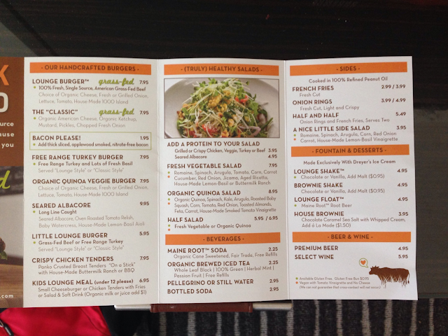 menu from July 2014