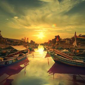 Fishing boat parking lot by Ymmot Davinci - Transportation Boats