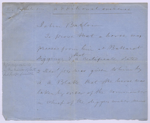 "The documents in this item were for use in the State Treason Trials, containing some supplementary evidence for the trials as well as the formal charge of high treason made against thirteen of the diggers involved in the Stockade. <a href=""http://wiki.prov.vic.gov.au/index.php/Eureka_Stockade:Depositions_VPRS_5527/P_Unit_2,_Item_8"">Click here to see more of this record on our wiki</a>."