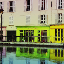 Canal de L'Ourcq by Bruno Gueroult - City,  Street & Park  Neighborhoods ( paris, quai, canal de l'ourcq, quartier, reflexion,  )
