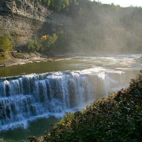 Letchworth Waterfall by Peter Andrusyszyn - Landscapes Waterscapes ( letchworth, waterfall, state park, new york )