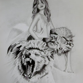 She Wolf by Sherri Reyna - Drawing All Drawing ( pencil, wild, graphite, dogs, woman, art, wolves, animal, native american )