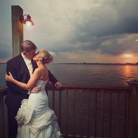 Charleston Sunset by Jeremy McKnight - Wedding Bride & Groom ( kiss, sunset, wedding, lake, dock )