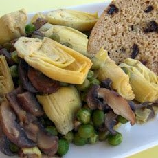 Artichoke Hearts, Green Peas and Mushrooms in a Lemon Sauce
