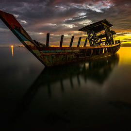 Stranded at Dusk by Ade Noverzan - Transportation Boats ( stranded, shipwreck, sunset, twilight, beach, dusk )
