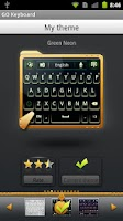Screenshot of GO Keyboard Green Neon Theme