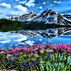mountains and flowers by Leslie Collins - Painting All Painting ( clouds, water, mountains, sky, reflections, lake, flowers )