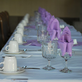 Table Setting for Reception by Jane Rodrigues - Wedding Reception ( glassware, table setting, formal setting, flatware, cup and saucer, wedding party,  )
