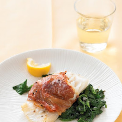 Prosciutto-Wrapped Cod with Lemony Spinach