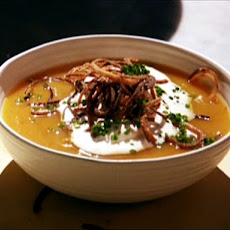 Butternut Squash Soup with Cinnamon Whipped Cream and Fried Shallots