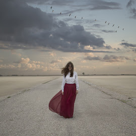 wasteland by Nicki Upstairs - People Portraits of Women ( clouds, saltworks, square crop, edit, fine art, self portrait, mesologi, road, birds, composite, photography, portraiture, outdoors, silence, nicki upstairs, conceptual, photoshop )
