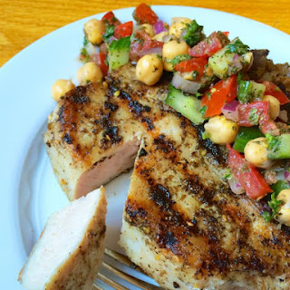 Za'atar Crusted Grilled Pork Chops