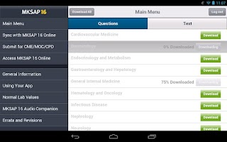 Screenshot of MKSAP 16 Tablet Edition